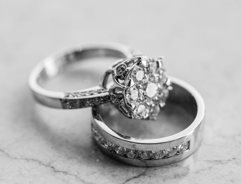 an engagement ring set