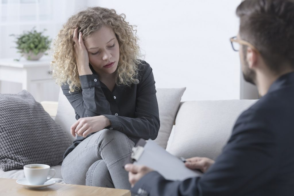 Woman talking to a psychiatrist