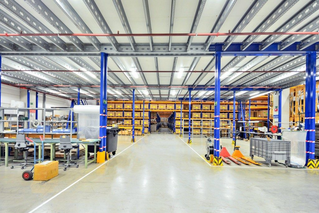 A wide warehouse