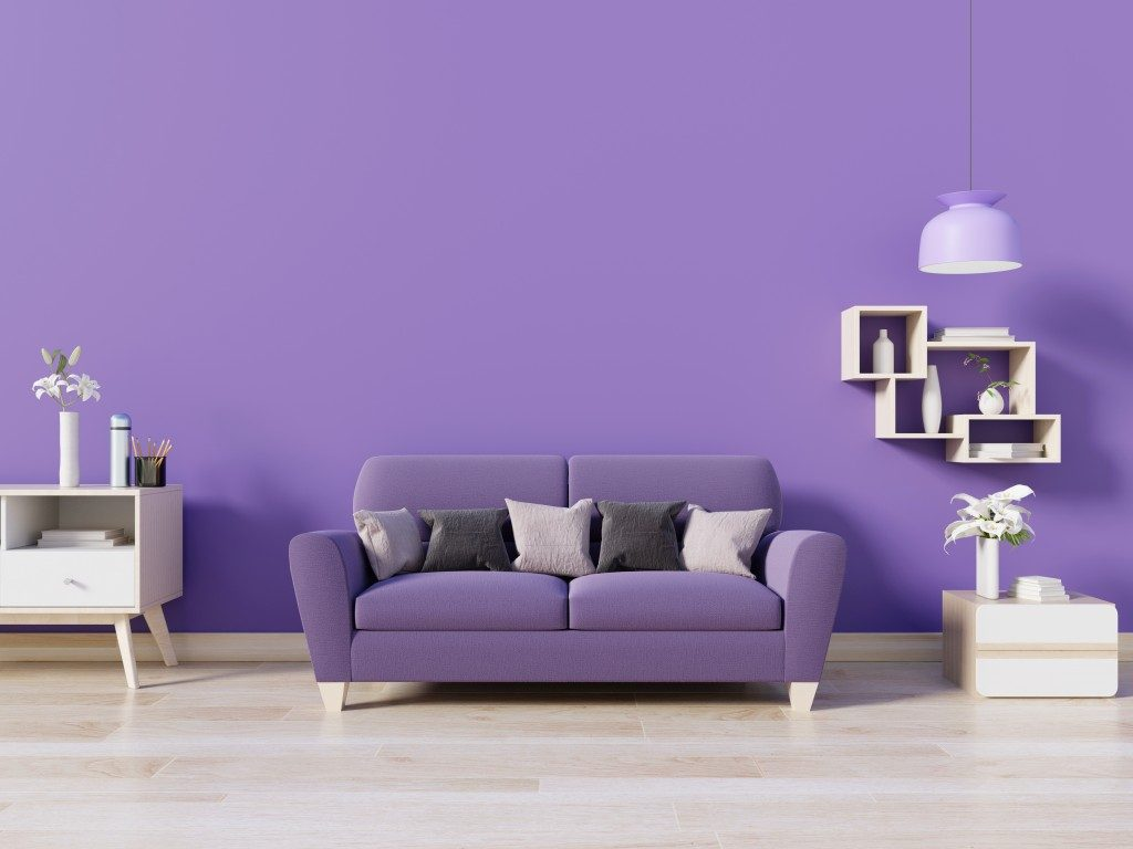 a purple living room
