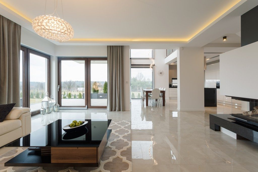 Luxurious living room with marble flooring
