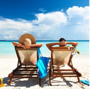 Couple enjoying the beach view