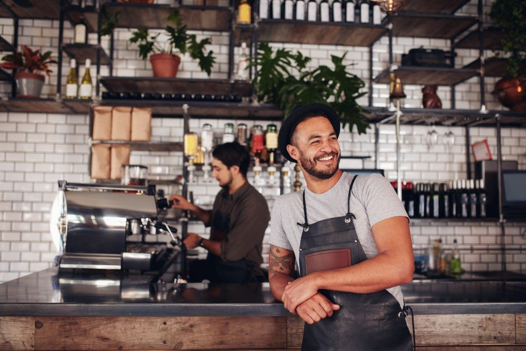 confident happy barista