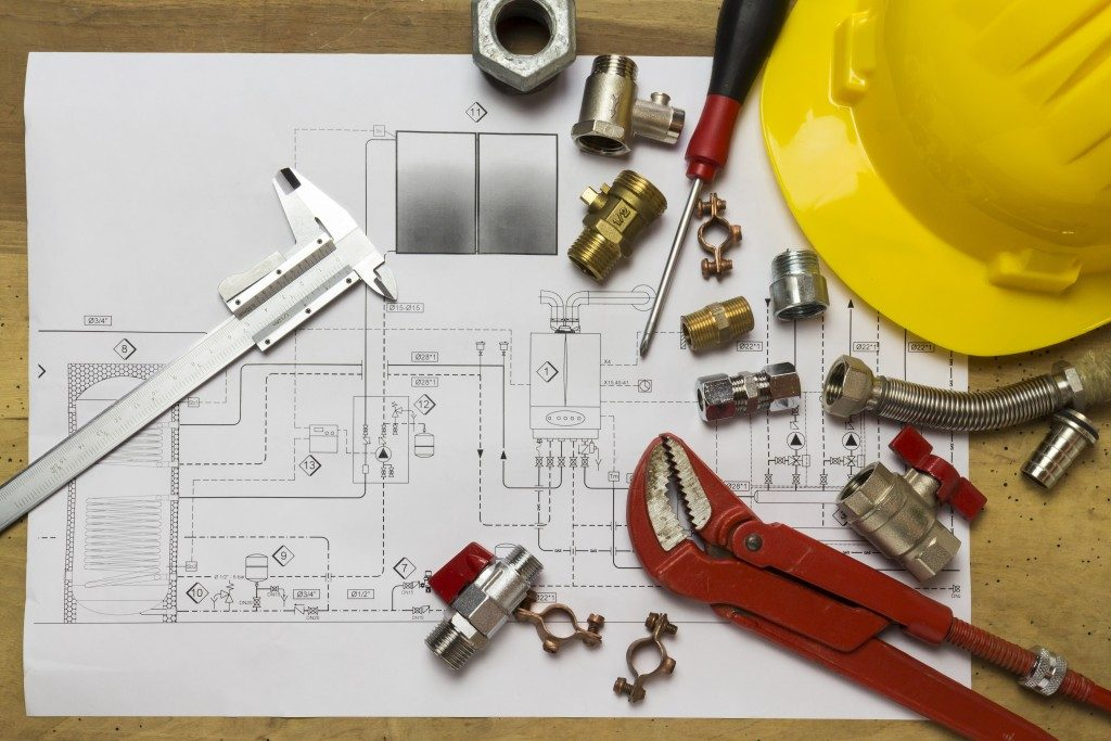 construction blueprint and tools