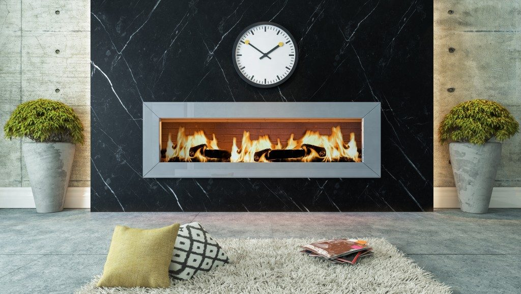 Stylish wall mounted fireplace