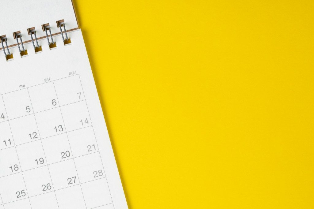 calendar on yellow background