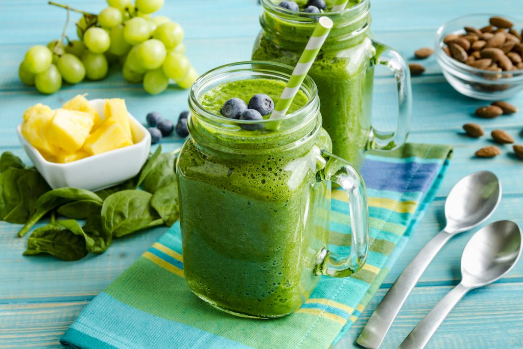 Mason jar filled with smoothie