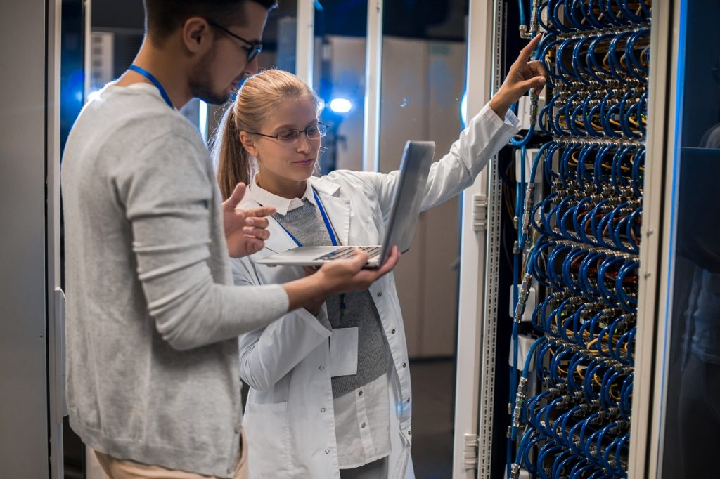 Scientists Working with Supercomputer