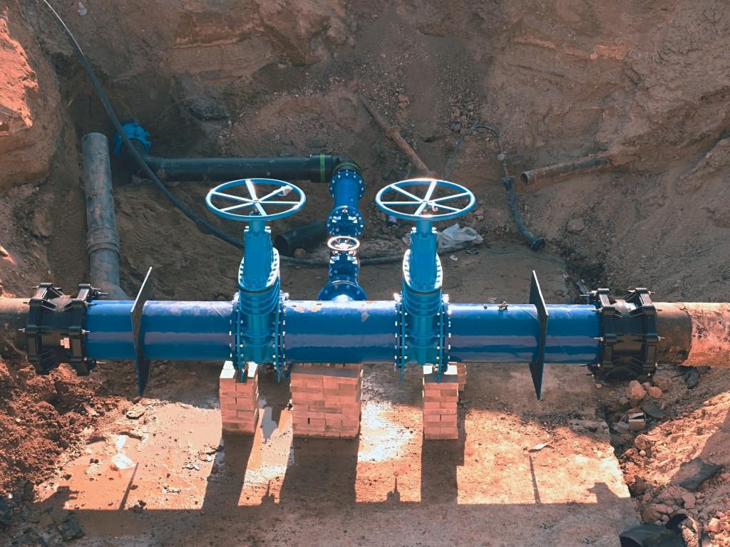 Blue water pipe underground