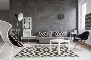 black and white modern room