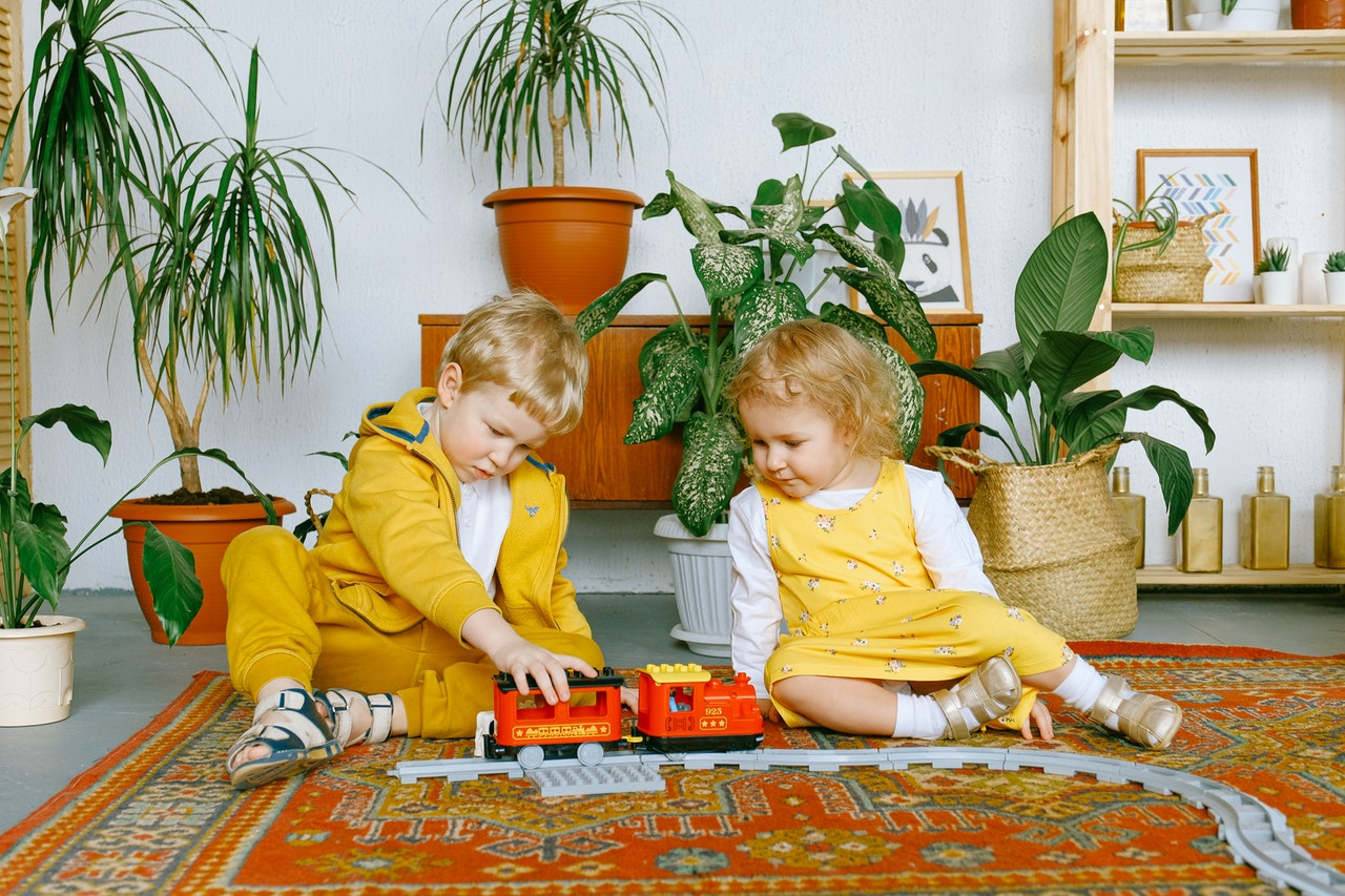 kids playing on the rug