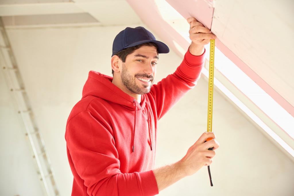 man doing home improvements