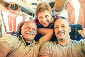 man with his senior parents